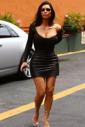 Kim Kardashian in Skintight Black Outfit - Arrives to Film KUWTK in Studio City 05/08/2017