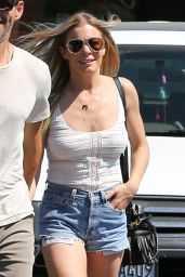 LeAnn Rimes Leggy in Jeans Shorts - Leaving Nobu Restaurant in Malibu, May 2017