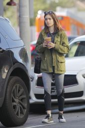 Lily Collins Gets and Iced Coffee from Coffee Bean in LA 05/12/2017