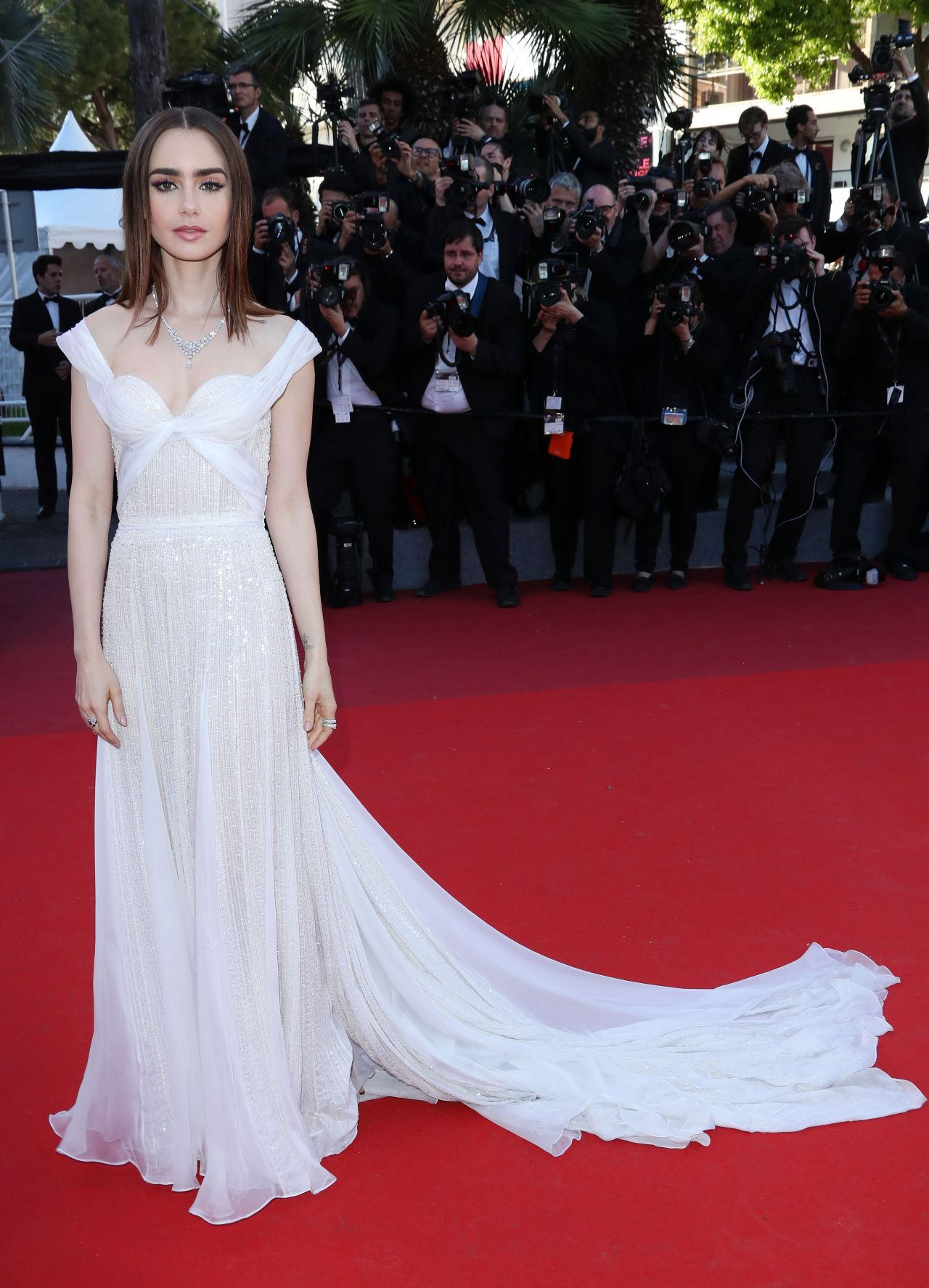"""Lily Collins on Red Carpet – """"Okja"""" premiere at Cannes"""