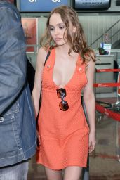 Lily-Rose Depp in a Bright Orange Dress - Cannes 05/18/2017