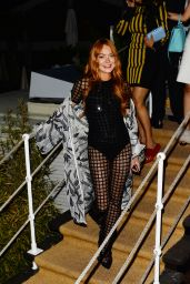 Lindsay Lohan Night Out Outfit - Arriving to Paul Allen