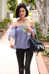 Lucy Hale in Tights - Grabbing a Morning Coffee in West Hollywood 05/26/2017