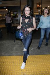 Lucy Hale Travel Outfit - Arrives Back in LAX, Los Angeles 05/19/2017
