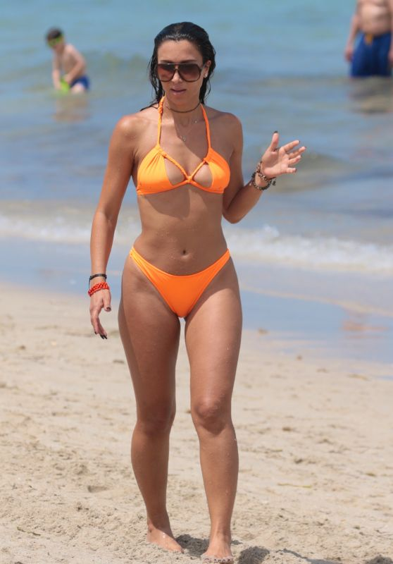 Metisha Schaefer in an Orange Bikini - Miami 05/27/2017