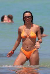 Metisha Schaefer in an Orange Bikini - Miami 05/27/2017