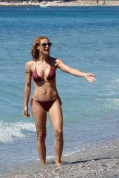 Michelle Hunziker in Bikini on the Beach in Varigotti, Italy 05/21/2017