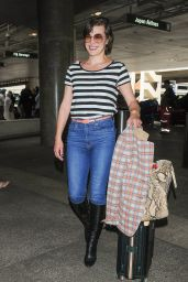 Milla Jovovich Travel Outfit - LAX Airport in Los Angeles 05/10/2017