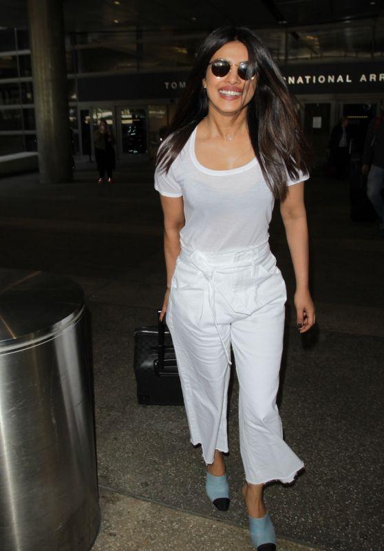 Priyanka Chopra Travel Outfit - LAX Airport in Los Angeles 05/08/2017