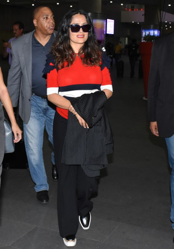 Salma Hayek Travel Outfit - Mexico City International Airport 05/03/2017