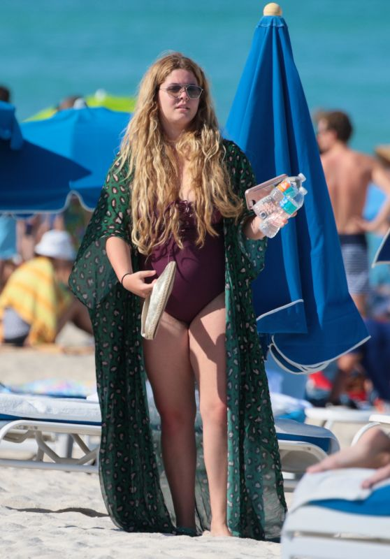 Sasha Pieterse in a Purple One Piece Swimsuit in Miami, May 2017