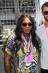 Serena Williams in the pitlane at Monaco Formula 1 Grand Prix in Monte Carlo 05/28/2017