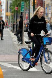 Sophie Turner - Riding Citibikes in Soho, NY 05/07/2017