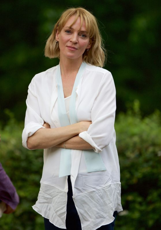 """Uma Thurman - Leaves the Set of """"The War With Grandpa"""" in NY, May 2017"""