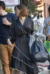 Alison Brie in Striped Dress - Bowery Hotel in NYC 06/20/2017