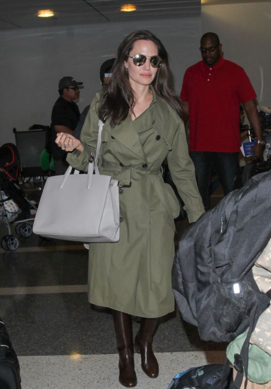 Angelina Jolie in Travel Outfit - LAX Airport in Los Angeles 06/17/2017