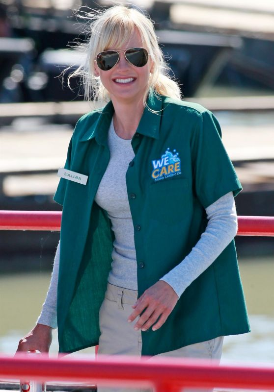 Anna Faris in a Cleaning Company Uniform - Steveston Village, Richmond BC 06/24/2017