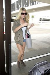 Ashley Greene Flashes Her Legs in Tiny Denim Shorts - LAX in Los Angeles 06/23/2017