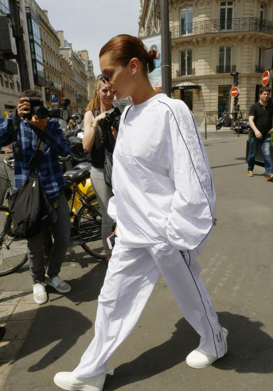 Bella Hadid in Tracksuit - Out in Paris, France 06/22/2017