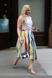 Chloe Grace Moretz in a Full Color Striped Skirt - NYC 06/05/2017