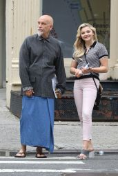 """Chloe Grace Moretz in Tight Pants - """"Louis C.K. Untitled Film Project"""" Set in NYC 06/14/2017"""