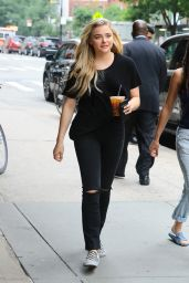 Chloe Grace Moretz Street Style - in a Black Ensemble in NYC 06/05/2017