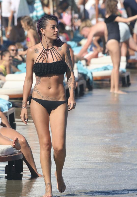 Claudia Nainggolan in Black Bikini at the Beach in Mykonos 06/19/2017