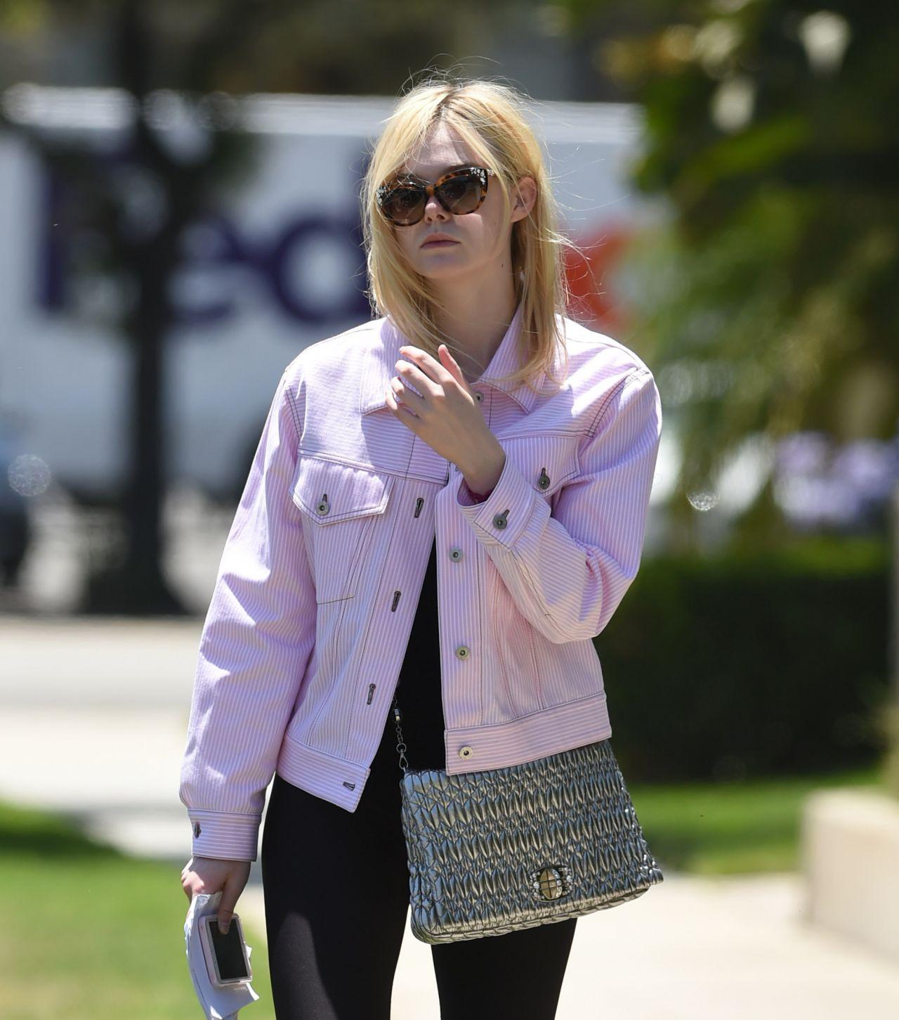 Elle Fanning In A Pink Jacket