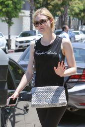 "Elle Fanning in a ""Vengeful Bitches"" Black Top - Out in LA 06/13/2017"