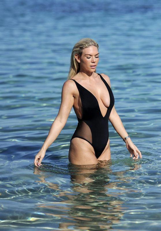 Frankie Essex in Black Swimsuit in Cyprus 06/24/2017