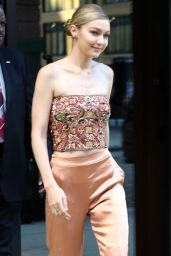 Gigi Hadid in Glitzy Top and a Pair of Shimmery Orange-Gold High-Waist Pants - NYC 06/26/2017