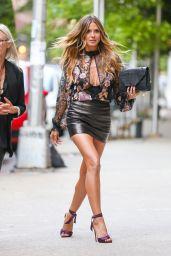 Heidi Klum in a Leather Mini Skirt and Sheer Blouse - London 06/29/2017
