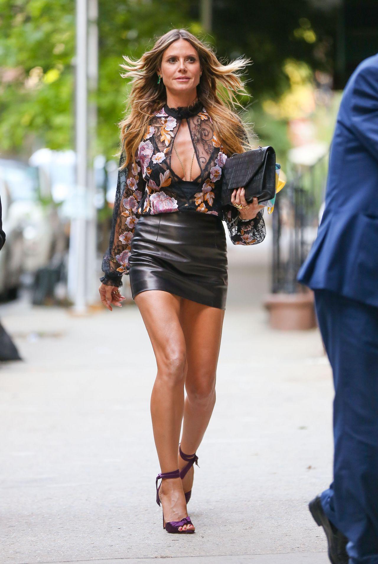 Heidi Klum smokin fucking hot in Leather Mini Skirt, Sheer ...