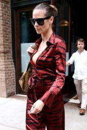 Heidi Klum in Camouflage Burgundy Jumpsuit - Greenwich Hotel in NYC 06/23/2017