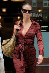 Heidi Klum in Camouflage Burgundy Jumpsuit - Greenwich Hotel in NYC 06/23/2017