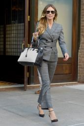 Heidi Klum Wears a Grey Suit - Out in NYC 06/20/2017