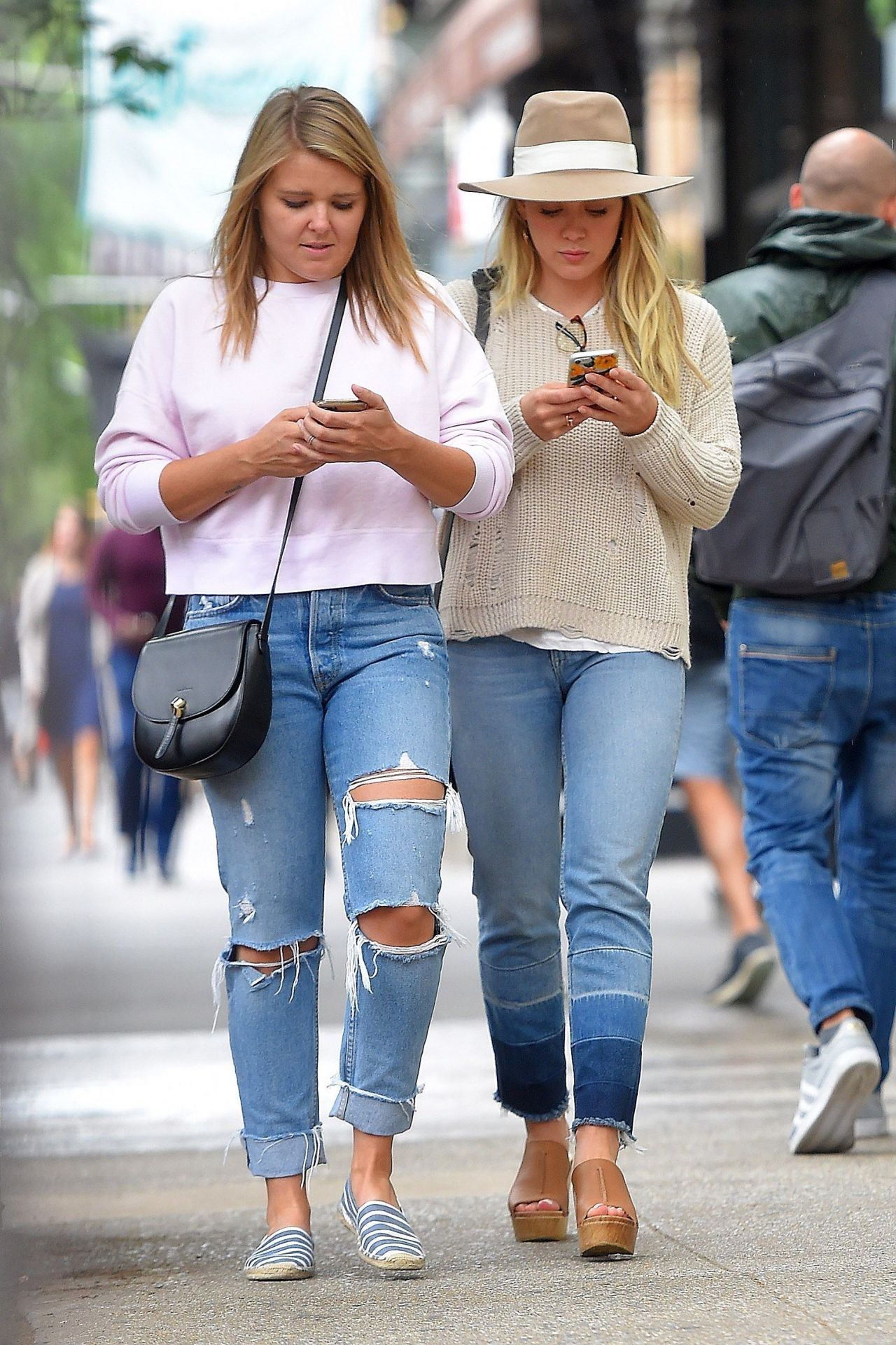 Hilary duff in casual attire grabbing lunch at sadelles in soho nyc