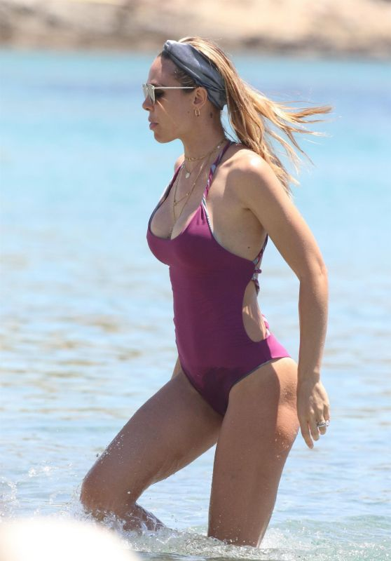 Ilary Blasi in Swimsuit at the Beach in Mykonos, Greece 06/21/2017
