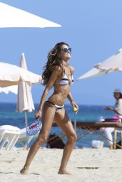 Izabel Goulart in a Stripy Bikini - Ibiza, Spain June 2017