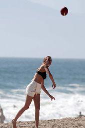 Josephine Skriver - Plays American Football in Malibu 06/19/2017