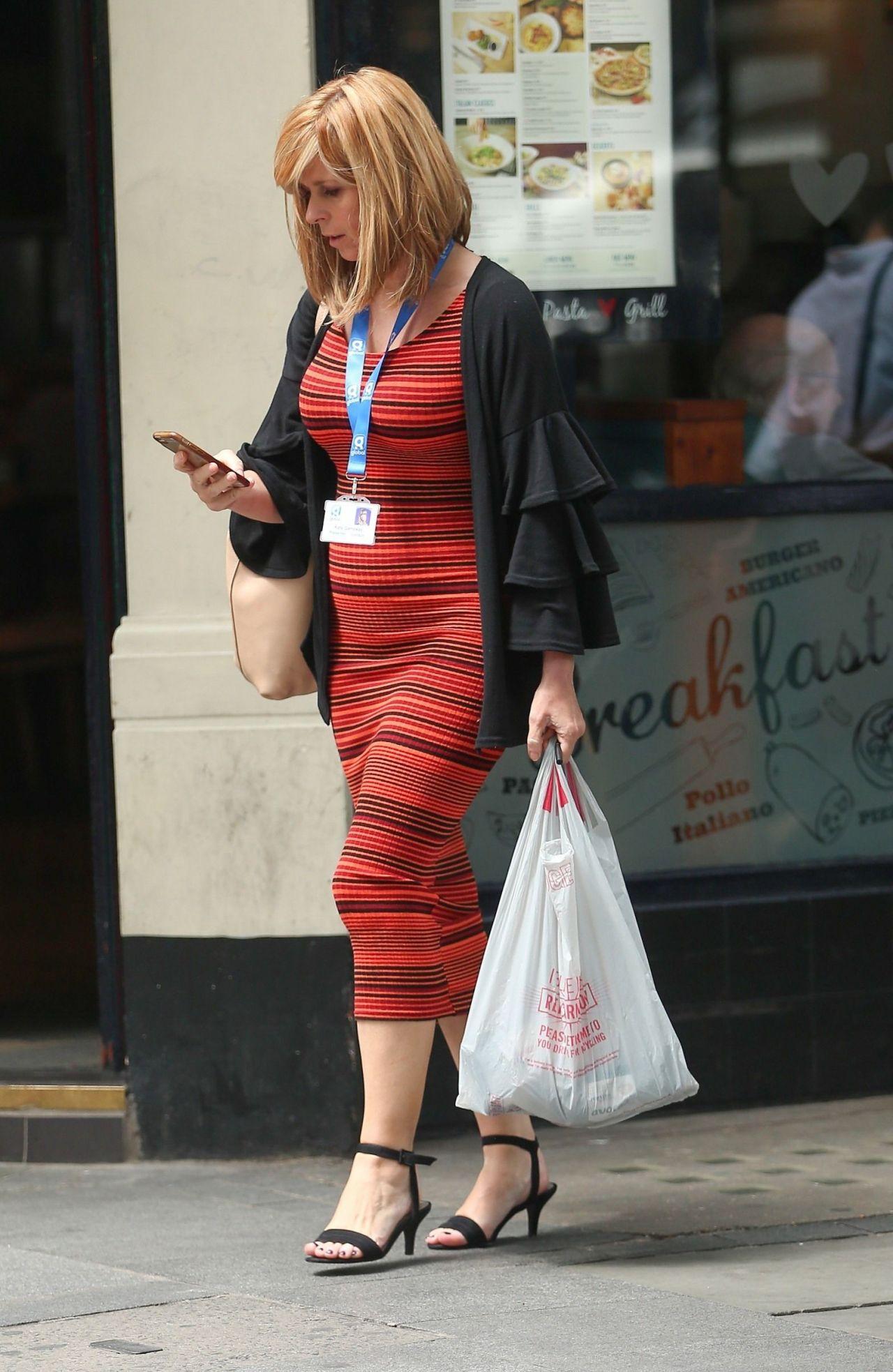 Kate Garraway In A Tight Fitting Striped Dress London