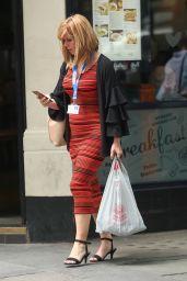 Kate Garraway in a Tight Fitting Striped Dress - London, UK 06/15/2017