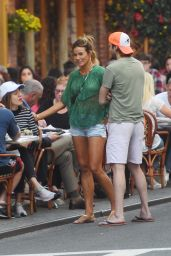 Kelly Bensimon Shows Off Her Legs in a Pair of Short Shorts - NYC 09/11/2017