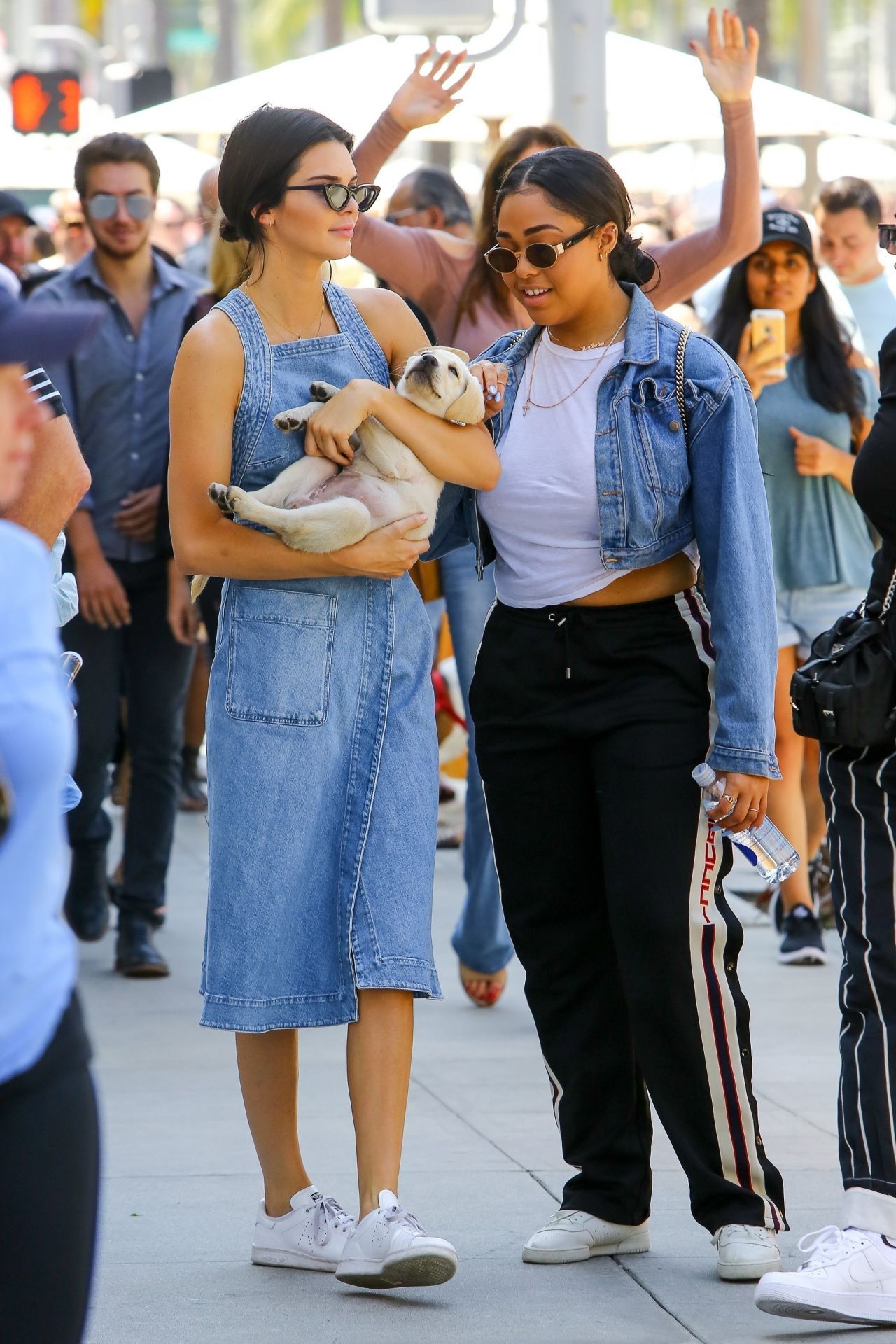 Kendall Jenner In Denim Dress Out Beverly Hills 06 18 2017