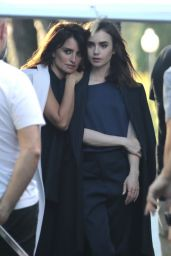 Lily Collins and Penelope Cruz - Filming a New Commercial for Lancôme 06/12/2017