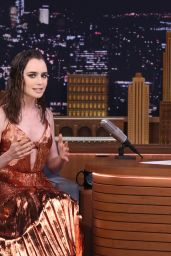 Lily Collins Appeared on Tonight Show Starring Jimmy Fallon in New York 06/27/2017