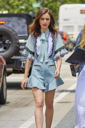 Lily Collins in Lace Trim Play Suit - New York City 06/26/2017