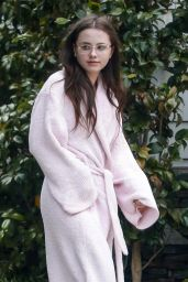Lily Mo Sheen in a Pink Robe - Los Angeles 06/24/2017