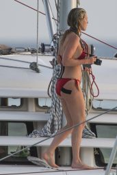 Lisa Carrick in Red Bikini on Luxury Boat in Barbados 06/16/2017