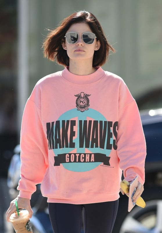 Lucy Hale Wearing a Baggy Pink Sweatshirt - Picks Up a Coffee in LA 06/09/2017